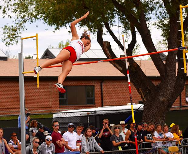 Payten Spencer, a senior at Glenwood Springs, clears the bar during the 4A pole vault Thursday. Spencer placed 11th in the event.