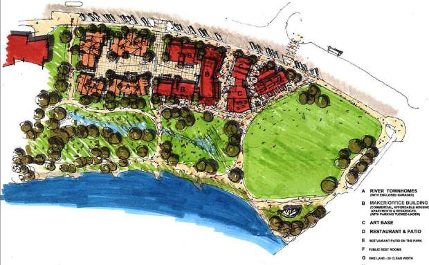 This site plan for the Pan and Fork property combines residential and commercial uses along with parkland. The third time was a charm. Two former developers' plans were rejected.