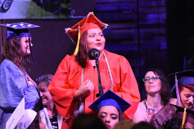 A Yampah Mountain High School graduate gives a special shout-out to friends and family during the commencement ceremony held in Carbondale on Friday morning.