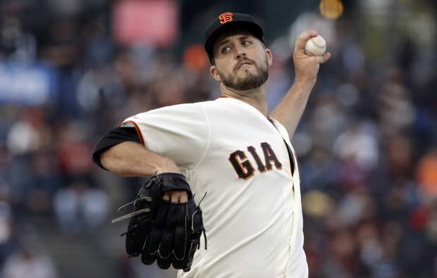 San Francisco Giants pitcher Drew Pomeranz throws to a Colorado Rockies batter during the first inning of a baseball game in San Francisco, Monday, June 24, 2019. (AP Photo/Jeff Chiu)
