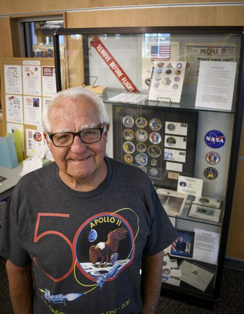 Rifle resident Tom Collins recenlty loaned a portion of his collection of NASA memorabilia to the RIfle Heritage Center to display at the Garfield County Library during the 50th anniversary of Apollo 11. Collins worked as an engineer at Kennedy Space Center for 33 years, working closely on the Apollo program as a fluids engineer.