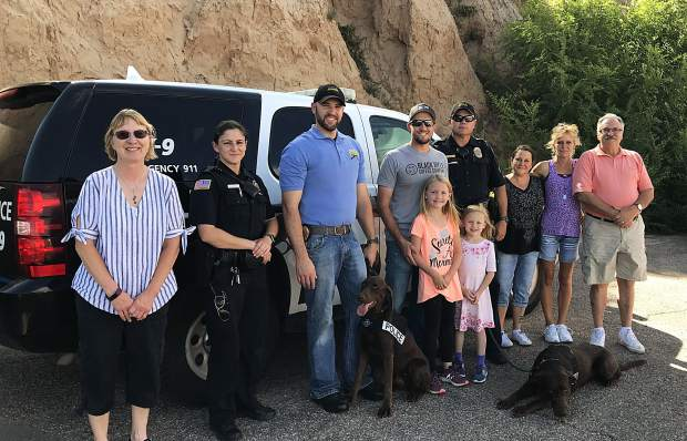 Members of Rifle Elks Lodge #2195 presented members of the Rifle Police Department with a donation for their canine unit. Funds were raised during the Elks lodge's second annual Law Enforcement/First Responders Appreciation Day Dinner held at the lodge on May 15.