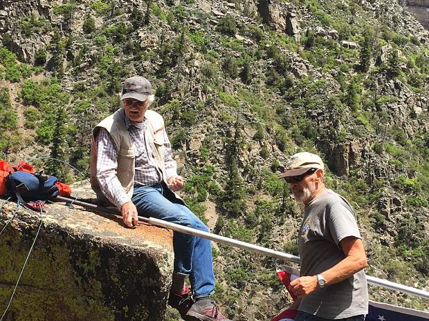 Local film maker Garrett Edquist caught these images of Vietnam era veterans Steve Kibler and Mike Paddock raising a new flag over Glenwood Canyon on June 1. The two first raised a flag at this point between the Shoshone Dam and Shoshone Power plant on March 13, 1968, and June 1, 2019 marked their 51st consecutive year. Hats off and Hands on Hearts for these two this Independence Day.