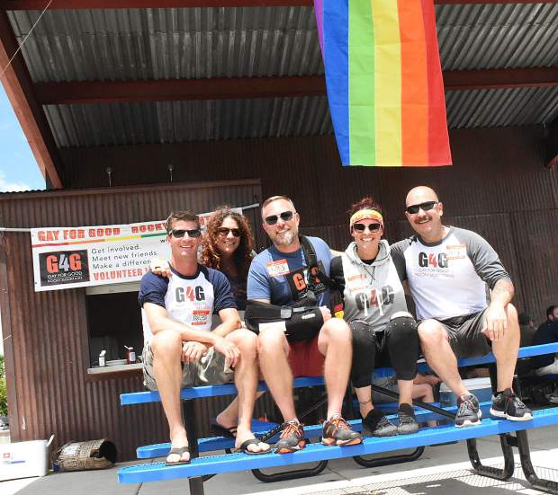 Directors of the Gay 4 Good Rocky Mountains chapter, from left, Colin Marshall, Janet Gordon, Jason Hodges, Natalyn Cumings and Steve Mills, at the group's first-anniversary picnic Saturday.