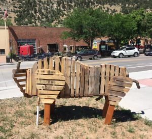 'Bison' sculpture on Sixth Street constructed from recycled wooden pallets