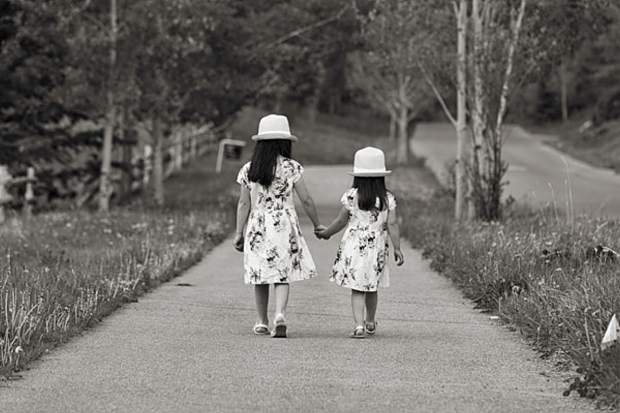 Isabella & Sophia enjoying a summer walk