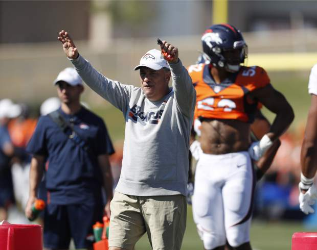 Denver Broncos head coach Vic Fangio directs players during an NFL football training camp session Monday, Aug. 5, 2019, in Englewood, Colo. (AP Photo/David Zalubowski)
