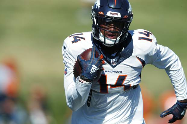 Denver Broncos wide receiver Courtland Sutton takes part in an NFL football training camp session Monday, Aug. 5, 2019, in Englewood, Colo. (AP Photo/David Zalubowski)