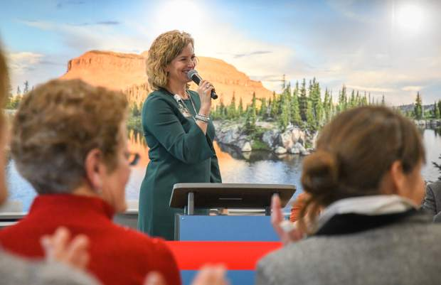 Colorado Mountain College President Carrie Besnette Hauser talks to a crowd in Glenwood Springs during an event in February 2018.