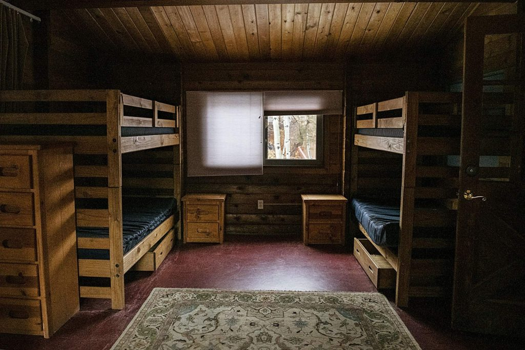 Double bunk beds are set up for the campers of the Aspen Camp of the Deaf and Hard of Hearing on Thursday, November 21, 2019. (Kelsey Brunner/The Aspen Times)