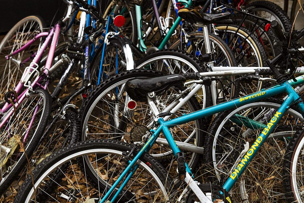Bikes are piled outside of a new shed on the property of the Aspen Camp in Old Snowmass on Thursday, November 21, 2019. (Kelsey Brunner/The Aspen Times)
